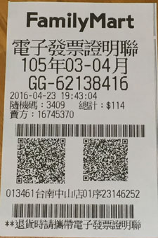 Taiwan Receipt Lottery Winning Number - Sixth Prize