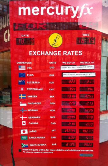 2015年9月18日 ロンドン市内の両替所の為替レート