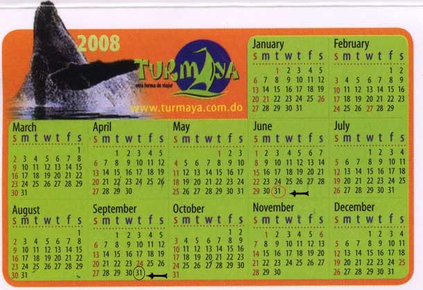 2008年ドミニカのカレンダー