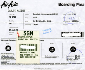 Air Asia boarding pass