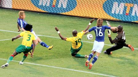 ワールドカップ南アフリカ大会-日本対カメルーン:本田圭佑の決勝ゴール
