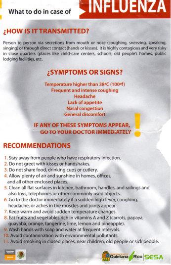 豚インフルエンザの対処方法を掲載したメキシコのリーフレット