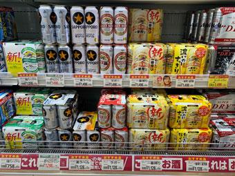 ビールの陳列棚