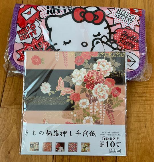 ハローキティポーチ(Hello Kitty Pouch)と千代紙(Chiyogami)