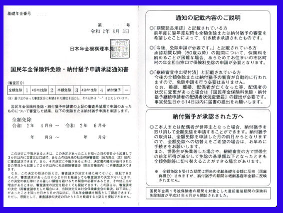 国民年金保険料免除・納付猶予申請承認通知書
