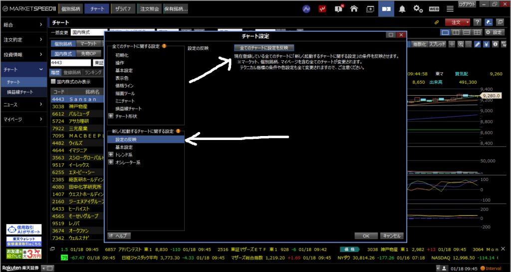 楽天証券マーケットスピード2-RCI設定変更方法