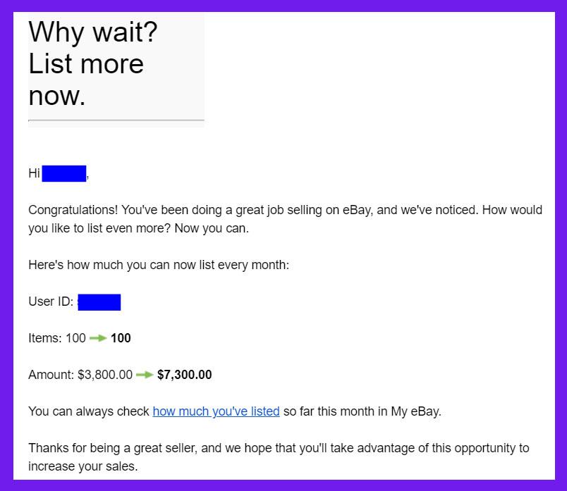 eBayからの自動リミットアップのお知らせ