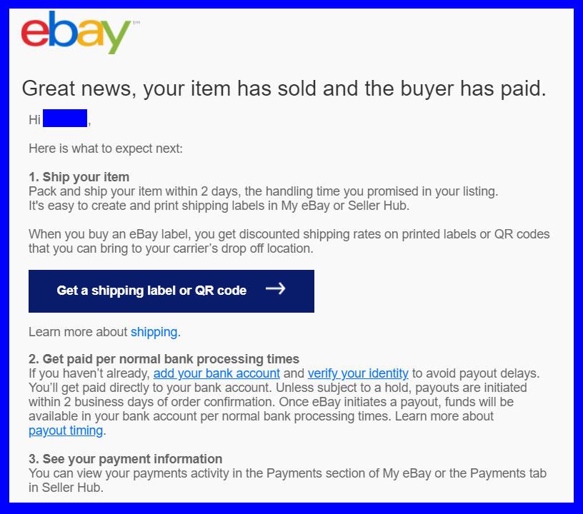 eBayでの売約通知