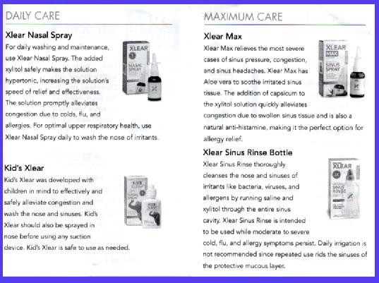 Xlear Nasal Spray(クリア社点鼻薬)の説明
